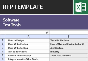 Software Test Tools Rfp Template