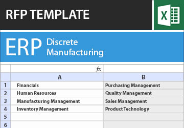 erp rfp templates software rfi requirements checklist in excel tec