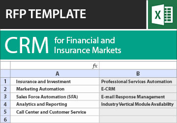 insurance rfp template  CRM for Financial and Insurance Markets RFP Template